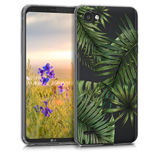 kwmobile Hülle kompatibel mit LG Q6 / Q6+ - Hülle Handy - Handyhülle - Dschungel Grün Transparent