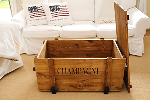 Uncle Joe´s Truhe Couchtisch Holzkiste Champagne – vintage – shabby chic - 2