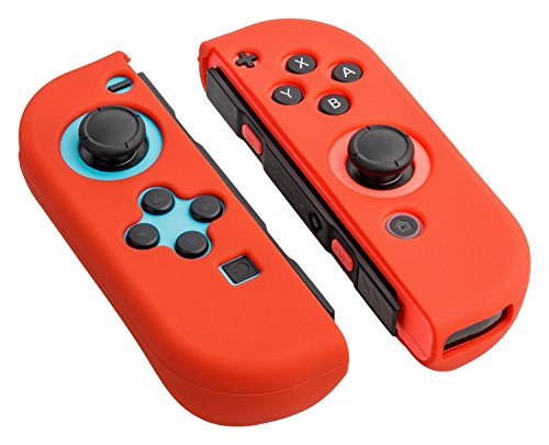 Gaminger Nintendo Switch Schutzhülle kompatibel mit Nintendo Switch aus Silikon für Joy Con Controller Skin - Rot