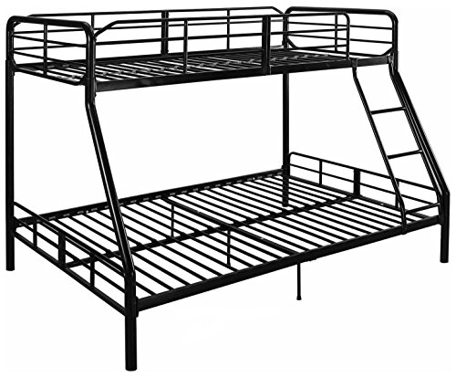 Mainstay Twin Over Full Bunk Bed Kids Teens Bedroom Dorm Furniture Metal Beds Bunkbeds with Ladder Black