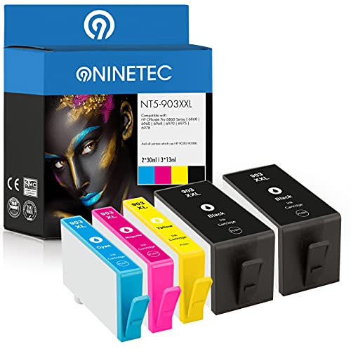 NINETEC NT5-903XXL Set di 5 cartucce compatibili con HP 903XXL HP 903XL | per HP OfficeJet Pro 6860 6868 6900 6950 6960 6970 6975 6978