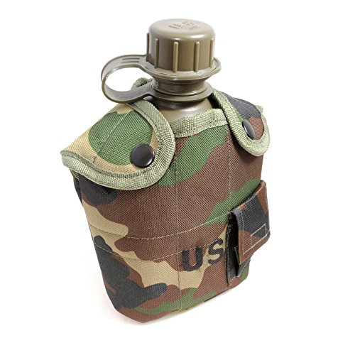 Feldflasche 1 Liter inkl. Trinkbecher (Kochbehälter) aus Aluminium, Bundeswehr-Flasche/Alu Travel Bottle + Stofftasche Bundeswehrgrün/Camouflage - Marke Ganzoo