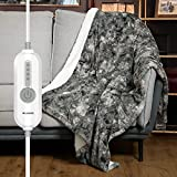 [5 Year Warranty] WOOMER Electric Heated Throw Blanket, Soft Faux Fur& Sherpa Fast Heating Blanket, 4 Heating Levels & 4 Hours Auto Off (50'x 60'), Machine Washable, Over-Heat Protection