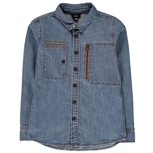 Firetrap Jungen Denim Shirt Freizeit Jeans Hemd Kurzarm Mid Wash 13 Jahre