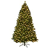 COSTWAY Albero di Natale Albero di Abete Artificiale con luci LED, Verde, 210/225 / 240cm...