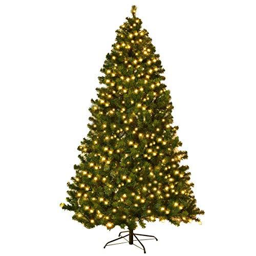 COSTWAY Albero di Natale Albero di Abete Artificiale con luci LED, Verde, 210/225 / 240cm (240cm)