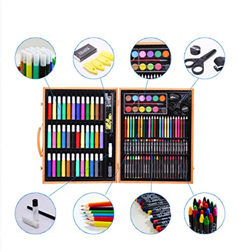 150 Pcs Art Set, Sketching and Drawing Handle Art Box with Oil Pastels, Crayons, Colored Pencils, Markers, Paint Brush, Watercolor Cakes, Sketchpad for Kids and Toddlers - Colorful