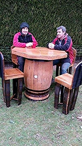 Recycled Solid Oak Whiskey Cask Octagon Top Oak Barrel Table and 4 Stools