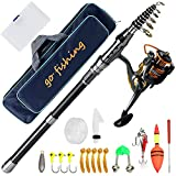 Fishing Rod Kit, Carbon fiber retractable rod and reel combination, With rotating reel, Line, Bait, Hook and bag, Suitable for beginner and professional travel,Saltwater, Freshwater fishing tackle set