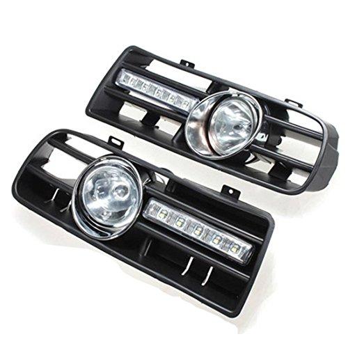 Cikuso 2 X LED Grille Grill Pare-Chocs Feux Anti Brouillard Phare pour 97-06 VW Golf 4 MK4 IV Noir