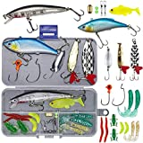 Proberos 24 Pcs Fishing Lures Kit for Freshwater Bait Tackle Kit, Fishing Accessories Tackle Box Including Spoon Lures Soft Plastic Worms Crankbait Jigs Fishing Hooks