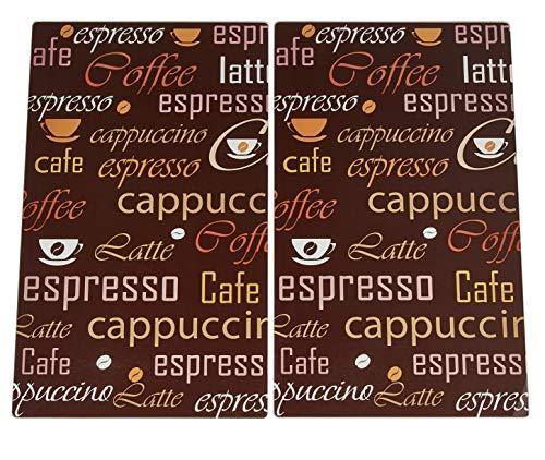 KHG Herdabdeckplatten ceranfeld 2teilig Coffee ESG Sicherheitsglas 60x52 cm Kaffee braunes Glas für alle Herdarten
