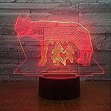 Lámpara De Ilusión Óptica Diseño De Luz Nocturna Led Dos Personas Apretar Leche De Vaca 7 Cambio De Color 3D Usb Novedad Ilusión Lámpara De Escritorio Animal Decoración Para El Hogar