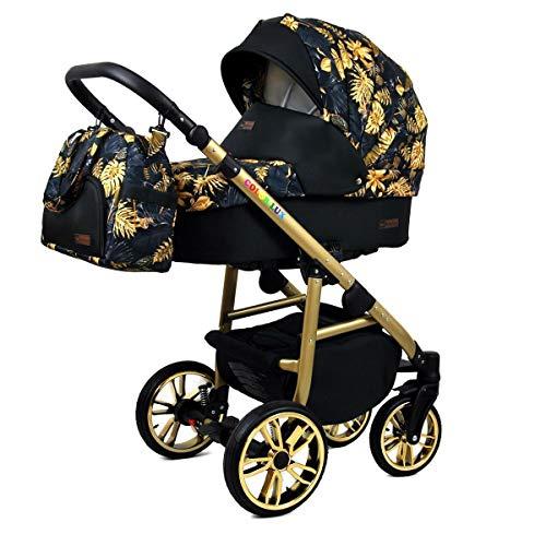 Kinderwagen 3 in 1 Komplettset mit Autositz Isofix Babywanne Babyschale Buggy Colorlux Gold by ChillyKids Gold Jungle 4in1 Autositz +Isofix