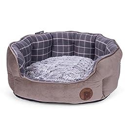 Petface Faux Moleskin Grey Check Pet Bed Bamboo Plush Cushion Dog Cat Bedding Basket (Various Sizes)