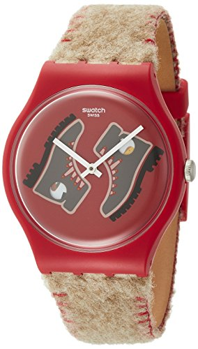 Swatch Herren Analog Quarz Uhr mit Leder Armband SUOR708
