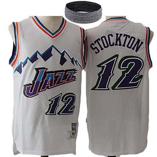 Hombres Malone 32 Stockton 12 Jazz Jerseys del Baloncesto Camiseta de Deporte, Ventilador Edición clásico Jersey Camisa sin Mangas, Adulto de Malla Uniforme Traje de No. 12 White-XL