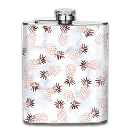 Petaca de acero inoxidable portátil de 7 onzas elegante y moderna de mármol blanco de oro rosa, piña, para licor, whisky, vino, bandera, para escalada, camping, barbacoa, bar, fiesta, bebedor