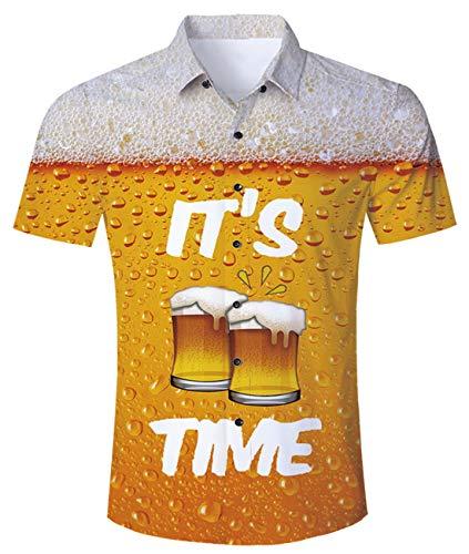 Idgreatim Idgreatim Männer Männer hawaiianischen Stil Hemden Shirts für Männer Kurzarm Button Down Beach Palm T Hemden Shirt