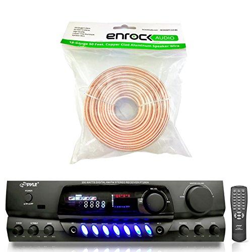 Pyle PT260A 200-Watt 2-Channel Digital AM/FM Radio Stereo Amplifier Receiver - Bundle Combo With Enrock 50 Feet 18-Gauge Speaker Wire