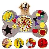 L&P Schnüffelteppich Hunde Knochenform Interaktives Lernspielzeug Waschbar Schnuppermatte Riechen Trainieren für Zuhause, Sniffing Carpet Suchspiel rutschfest Futterteppich 90x55 cm