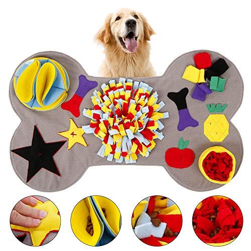 L&P Schnüffelteppich Hunde Knochenform Interaktives Lernspielzeug Waschbar Schnuppermatte Riechen Trainieren für Zuhause, Sniffing Carpet Suchspiel rutschfest...