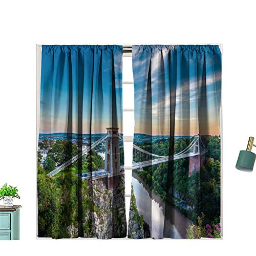 Hiiiman Rod Pocket Window Curtains Clifton Suspension Bridge Bristol UK with Sunset 100% Blackout for Bedroom Living Room, W63 x L72