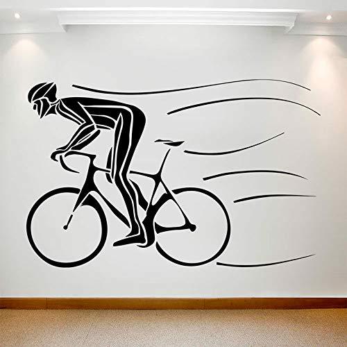 ASFGA Biker Silueta Etiqueta de la Pared Bicicleta Ciclismo Campo Deportivo Evento Vinilo Etiqueta de la Ventana Dormitorio Adolescente Estadio decoración Interior Arte Mural 74X115 cm