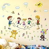 Stickers Muraux (Bricolage) Pc Dessin Animé Joyeux Animaux Corde À Sauter Sport Sticker Mural Pour Enfants Chambre D'École Décoration De La Maison Autocollants Et Affiches 73X130Cm Rgdrh
