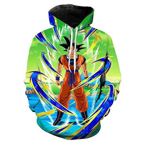 RITIOA Sudadera con capucha con impresión 3D de Snipes con Dragon Ball Monkey King para hombre y mujer, de manga larga, con bolsillos grandes T1. XL