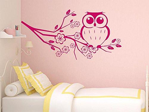 GRAZDesign Wandtattoo Eule auf Eulenbaum, niedliches Motiv für Kinderzimmer Mädchenzimmer, Wanddeko oder als Türaufkleber / 100x50cm / 042 Flieder