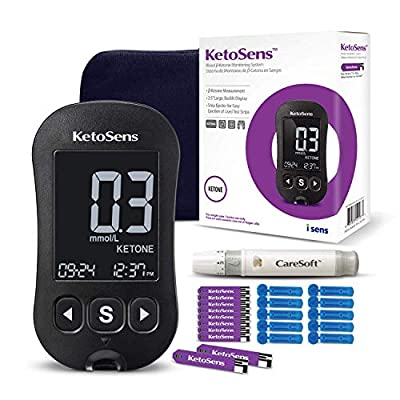 KetoSens Blood Ketone Monitoring Starter Kit - Ideal for Keto Diet. Includes Meter, 10 Test Strips, 10 Lancets, Lancing Device & Travel Case