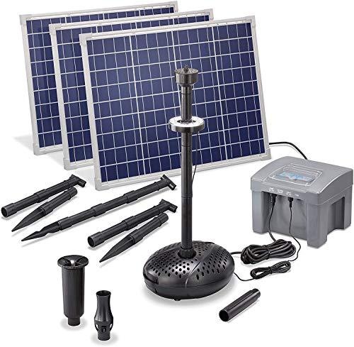 Solar Teichpumpe Professional mit 12V/24Ah Akkuspeicher und LED Beleuchtung - 3 x 50 Watt Solarmodul - 3.500 l/h Förderleistung - 2,5 m Förderhöhe - Springbrunnen Gartenteich Pumpe esotec 101931