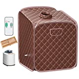 Giantex Portable Steam Sauna Spa 2L Folding Private Sauna Tent W/Chair Foot Massage Roller Absorbent Pad and 9 Adjustable Temperature Levels Spa Tent for Weight Loss Stress Fatigue (Coffee)