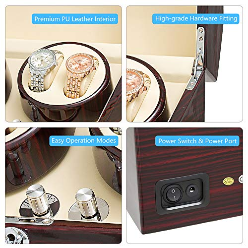 JQUEEN Automatic Wood Watch Winder Display Box 4+9 Storages