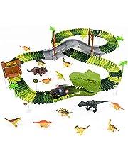 Dinosaurios Juguetes Coches de Juguetes Niños Pistas Educativos 144pcs Flexible Pista de Carreras con 14 Dinosaurios 1 Coche de Dinosaurio Tiranosaurio Rex Regalos para Niños Niñas 3 4 5 6 Años