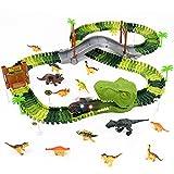 jerryvon Pista Coches de Juguetes Dinosaurios Juguetes - Flexible Circuito 144pcs Pista de Carreras con 14 Dinosaurios 1 Coche de Dinosaurio Tiranosaurio Rex Regalos para Niños Niñas 3 4 5 6 Años