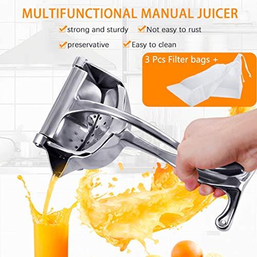 GENNISSY Manual Juicer Lemon Orange Squeezer with 3 Filter Bags High Quality Aluminum Portable Manual Squeezing Tool for Fruit Lemon Orange (1