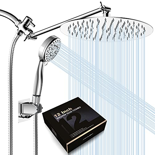 12 Inch Rain Shower Head with Handheld Spray Combo, Dual Detachable Rainfall Shower Heads with 13.5'' Extension Arm,Chrome Plated Bathroom High Pressure Waterfall Hand Held Showerhead with Hose Holder