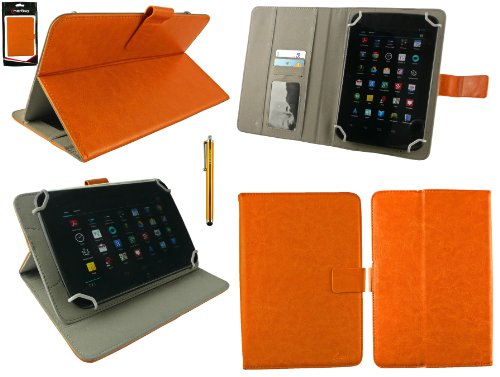 emartbuy® Gold Eingabestift + Universalbereich Orange Multi Winkel Folio Executive Hülle Cover Wallet Hülle Schutzhülle mit Kartensteckplätze Geeignet für Odys Junior Tab 8 Pro 8