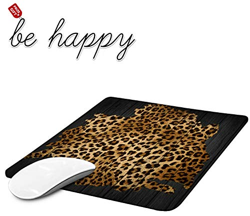 Gaming Mouse Pad, Leopard Grain Mouse Pads for Laptop Non-Slip Rubber Base Mousepad Computers and Office, Rectangle Cute Mouse Mats and Be Happy Computer Stickers