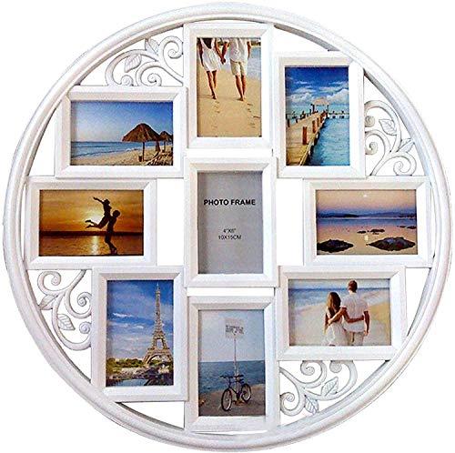 Ling LAN - Cornice portafoto da parete, 10 x 15 cm, rotonda, circolare, da appendere alla parete,...