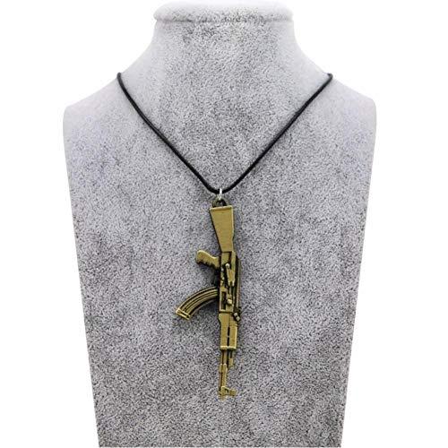 KJFUN Herren Pistole Anhänger Halskette Vintage Gold Ak-47 Halskette Herren Schmuck Halsbänder Geschenk Seil Kette