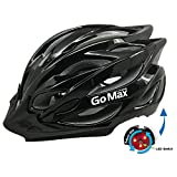 GoMax Aero Adult Safety Helmet Adjustable Road Cycling Mountain Bike Bicycle Helmet Ultralight Inner Padding Chin Protector and Visor w/Rear LED Tail Light Adjust (Shiny Black, XL)