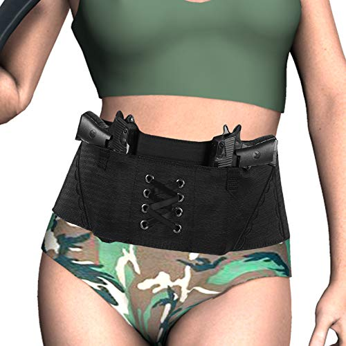 Belly Band Holster for Women, Accmor Concealed Carry Gun Holsters, Breathable Elastic Waistband Holster with 2 Magazine Pocket/Pouch