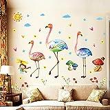 TFjXB DIY Pegatinas de pared de vinilo de flamenco arcoíris, setas, niñas, habitación de niños, fondo de guardería, calcomanías de pared, murales artísticos extraíbles, decoración del hogar