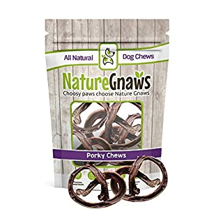 Nature Gnaws Pork Bully Stick Pretzels for Dogs – Premium Natural Bones – Long Lasting Dog Chew Treats for Small Dogs & Puppies – Rawhide Free (15 Count)