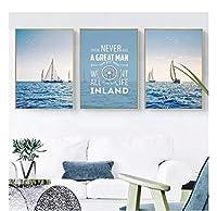 chenjiaxu 海の風景壁アートプリントキャンバス絵画ヨット引用北欧のポスター家の装飾リビングルームの装飾のための壁の写真-50x70cmx3フレームなし