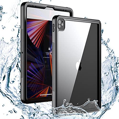 """AdirMi Funda para iPad Pro 12.9"""" (2021 Modelo, 5.ª Generación), IP68 Certificado Impermeable Carcasa [Protección de 360 Grados] Anti-Choque Anti-Arañazos con Soporte y Correa de Hombro"""