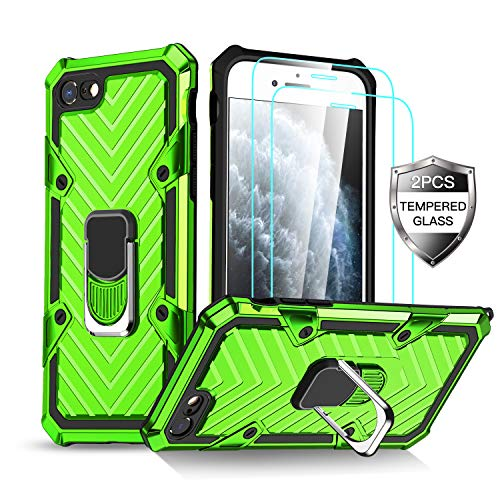 iPhone SE 2020 Case, iPhone 7/8 Case with [ 2 x Tempered Glass Screen Protector] [15Ft. Drop Tested ] [ Military Grade ] Protective Phone Case with Ring Car Mount Kickstand-Green